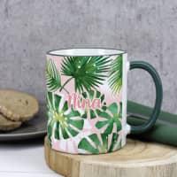 Tasse mit tropischem Motiv und Wunschname