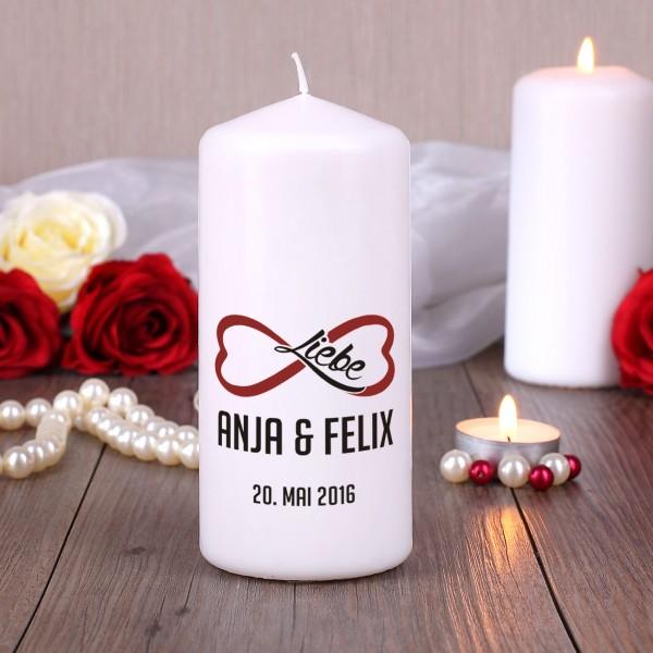 Unendliche Liebe Kerze mit Namen und Datum