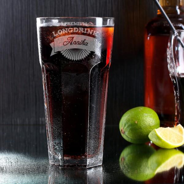 Longdrinkglas graviert mit Name und Motiv Premium Longdrink
