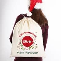 Frohe Weihnachten - Geschenkesack mit Name und Wunschtext