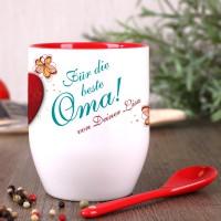 Tasse mit Löffel für die beste Oma