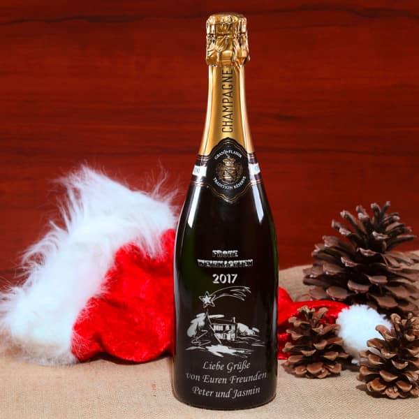 Champagnerflasche mit silberner Gravur