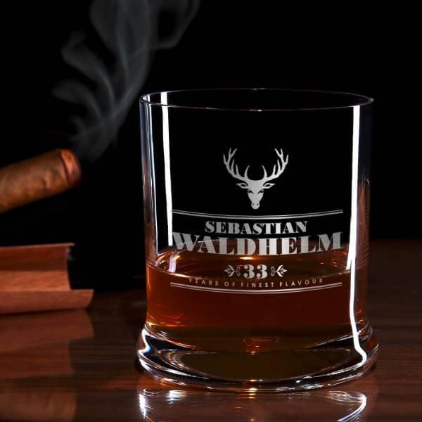 Hirsch Whiskeyglas mit Gravur