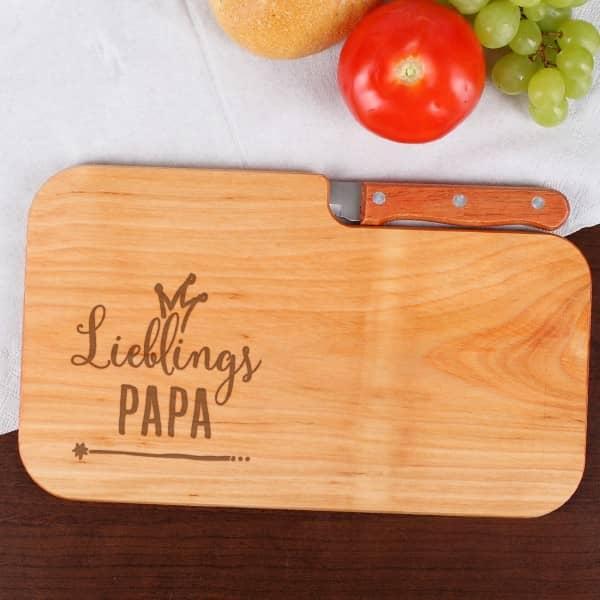 Holzschneide-Brettchen mit Messer für Lieblingsmenschen