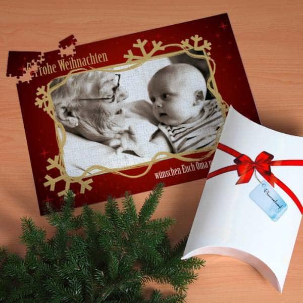 XXL Fotopuzzle mit weihnachtlichem Rand und Text