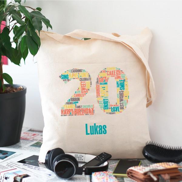 Baumwollbeutel mit Wunschname zum 20. Geburtstag