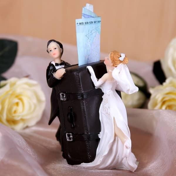 Spardose Brautpaar mit großem Koffer