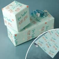 Geschenkpapier mit zwei Zeilen Wunschtext