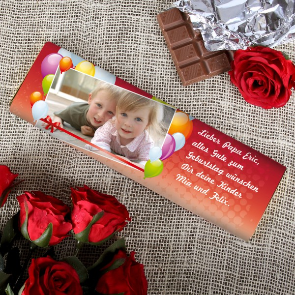 300g Geburtstags Schokolade mit Ihrem Foto