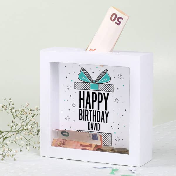 Weiße Bilderrahmen Spardose zum Geburtstag