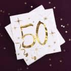 Weiße Servietten zum 50. Geburtstag in Gold-Metallic