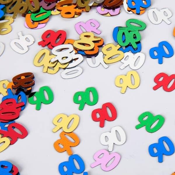 Zahlenkonfetti zum 90. Geburtstag