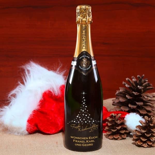 Champagnerflasche mit Swarovski-Steinen und Gravur in Gold und Silber zum Weihnachtsfest