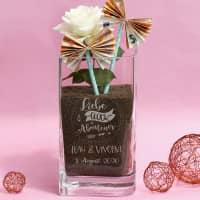 Liebe, Glück & Abenteuer - gravierte Vase zur Hochzeit - auch für Geldgeschenke