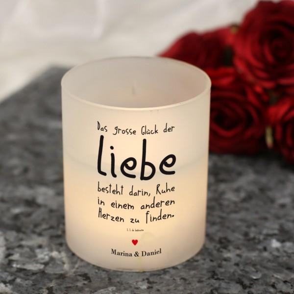 LED-Windlicht mit Liebesspruch und Ihrem Wunschtext