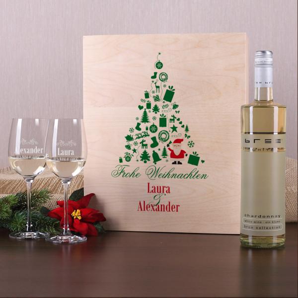 Weihnachtliches Weinset aus 2 gravierten Gläsern und Wein in Holzbox