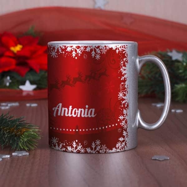 Tasse mit Weihnachtsmotiv und Name
