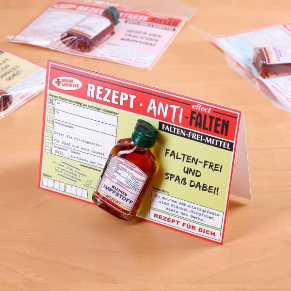Glückwunschkarte zum Geburtstag Rezept Antifalten mit Kräuter-Tröpfchen