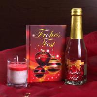 Weihnachts-Set mit Buch, Piccolo und Teelicht