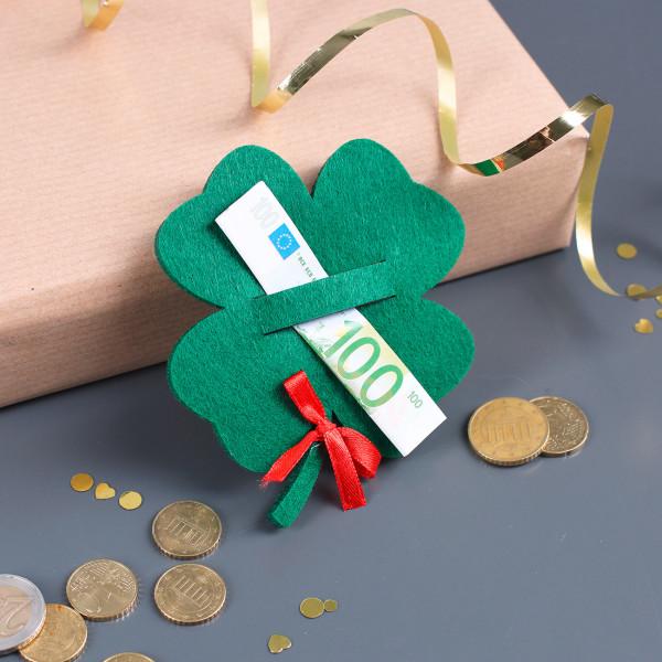 Kleeblatt aus Filz für Geldgeschenke