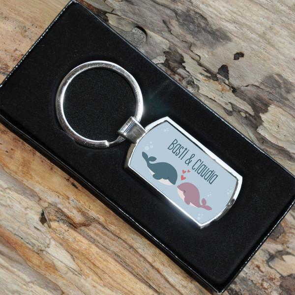 Individuellbesonders - Schlüsselanhänger mit süßem Wal Pärchen und Wunschtext - Onlineshop Geschenke online.de