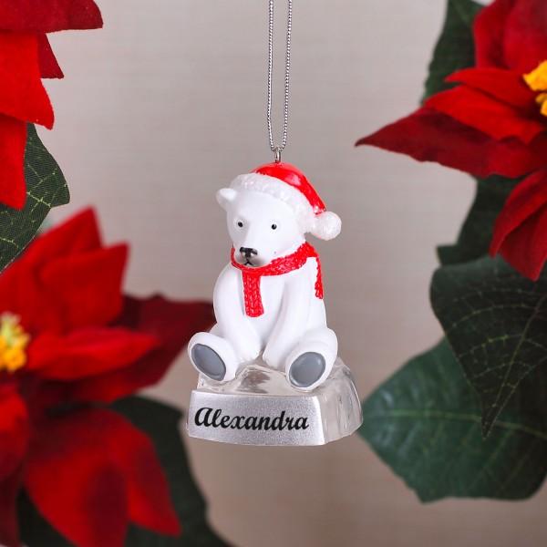 Christbaumschmuck mit bedruckten Eisbären