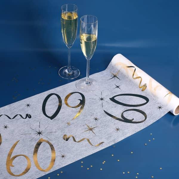 Tischläufer zum 60. Geburtstag in weiß und gold