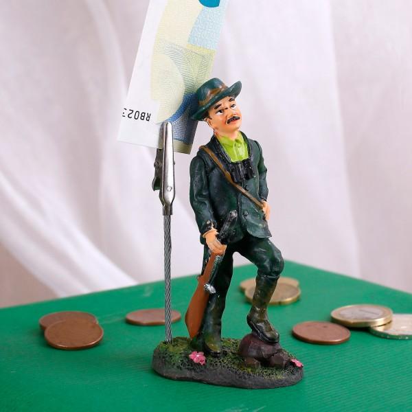 Jägerfigur mit Clip und Fuß auf Stein 11cm