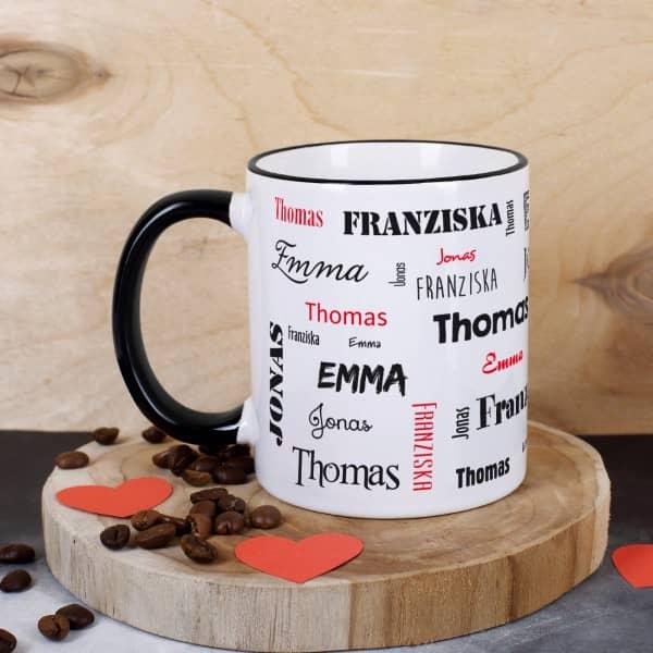 Tasse mit vier Namen, schwarz