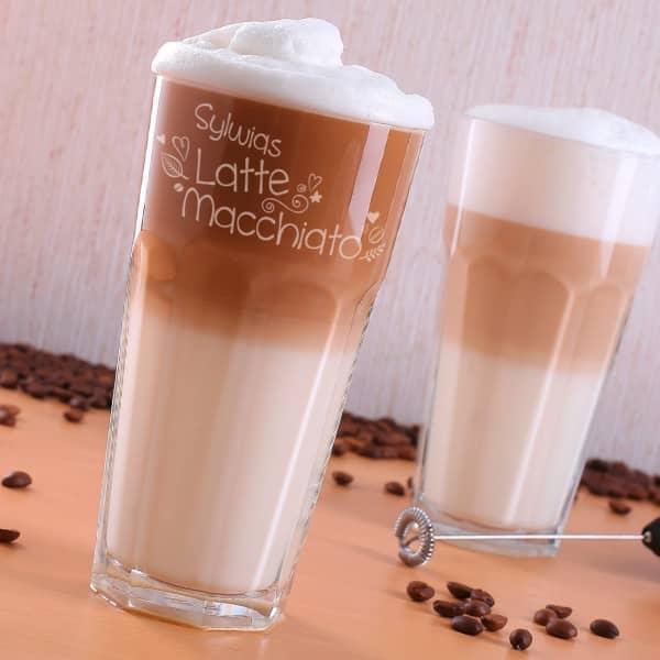 Latte Macchiato Glas graviert mit Name und Herzen