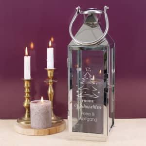 Edelstahl Laterne mit persönlichen Weihnachts-Motiv graviert