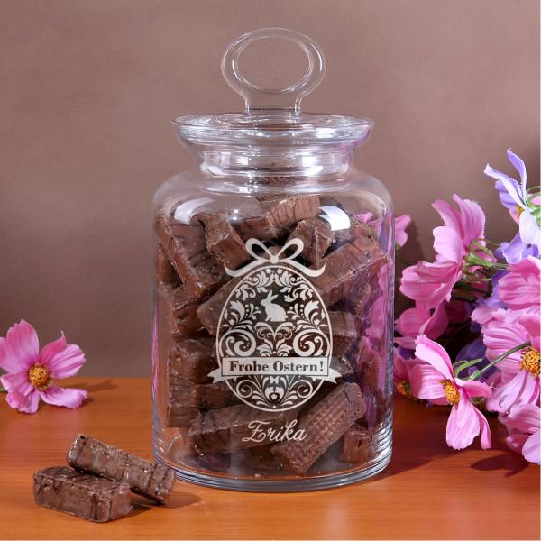 Große Glasdose für Süßigkeiten zu Ostern mit Gravur Osterei und Wunschname