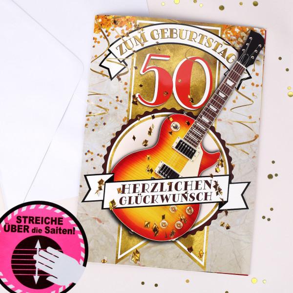 Ausgefallenspezielles - DIN A4 Soundkarte mit Touch Funktion zum 50. mit Gitarren Solo - Onlineshop Geschenke online.de
