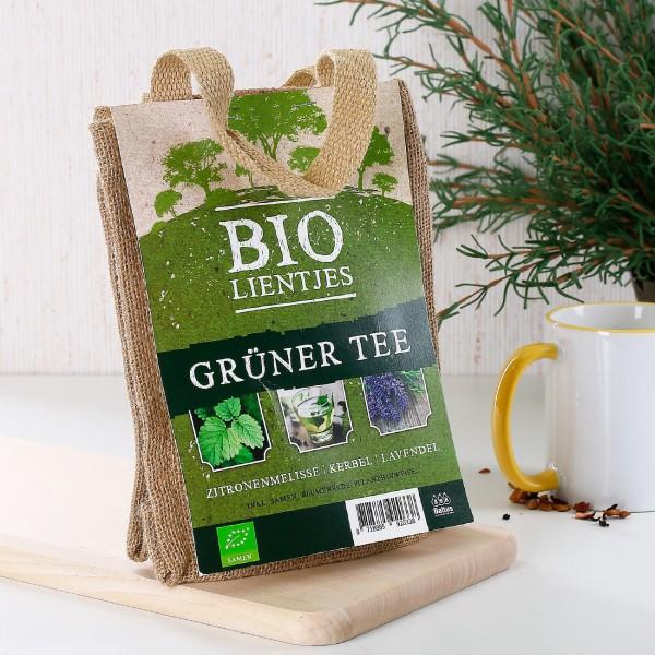 DIY Jutesack mit Samen für Grünen Tee