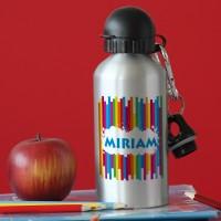 Trinkflasche in Silber mit Name und Regenbogenmotiv
