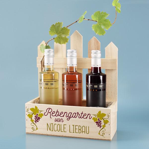 3 Weinflaschen (Weiß-, Rot- und Roséwein) in personalisierter Pflanzkiste