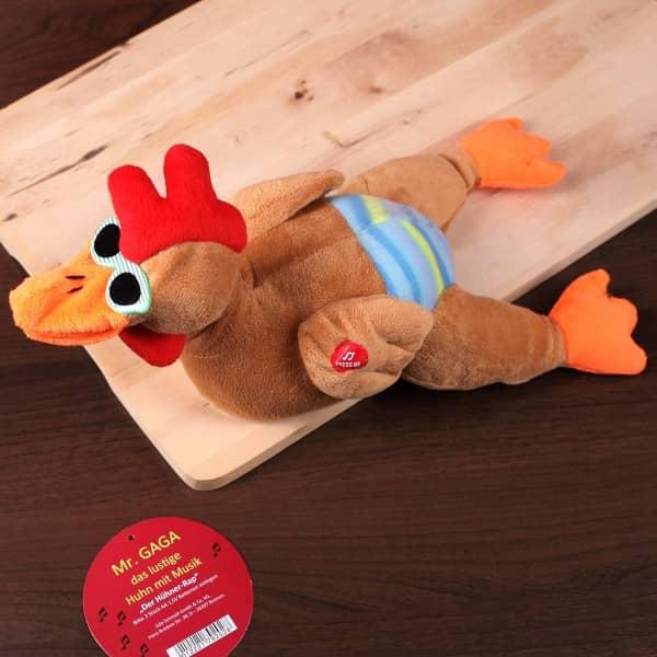 Tanzendes Huhn mit Musik aus Plüsch