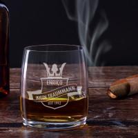graviertes Whiskyglas Wappen mit Name, Wunschzeile und Geburtsjahr
