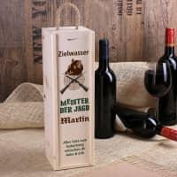 Zielwasser - Flaschenverpackung aus Holz mit Name und Wunschtext für Jäger