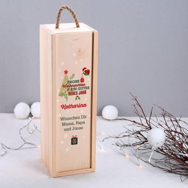 Holzverpackung zu Weihnachten mit Name und Wunschtext