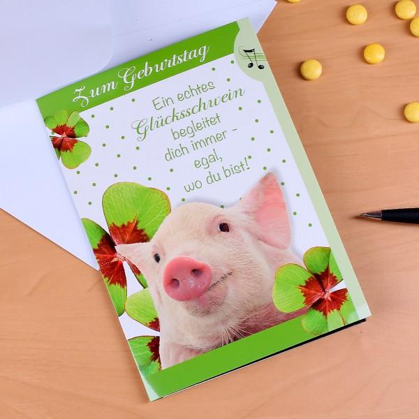 Geburtstagskarte Glücksschwein mit Licht und Sound