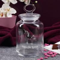 Gravierte Glasdose mit Einhorn und Wunschtext