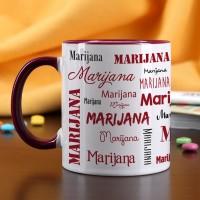 Tasse mit Ihrem Namen in verschiedenen Schriftarten - dunkelrot