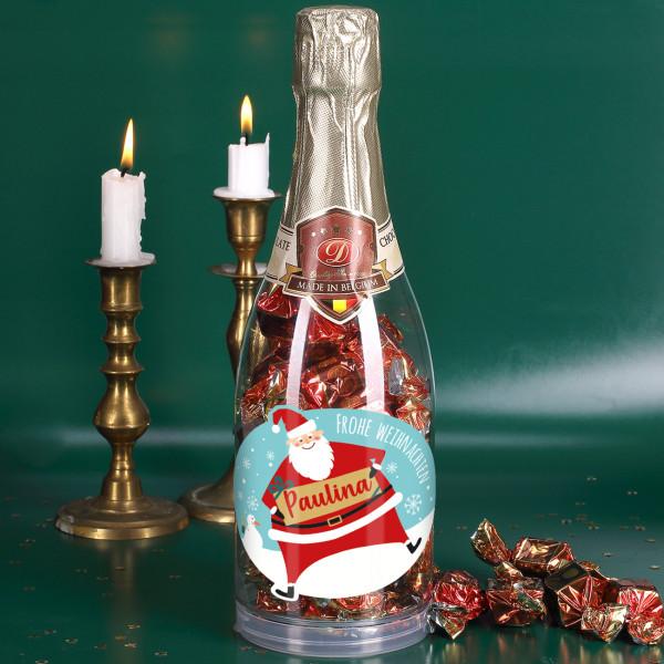 Champagner Pralinen Zu Weihnachten In Flasche Mit Weihnachtsmann Etikett