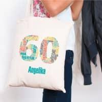 Baumwollbeutel zum 60. Geburtstag mit Ihrem Namen bedruckt