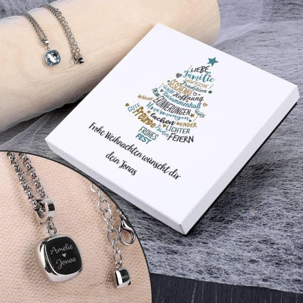 Individuellschmuck - Leonardo Halskette mit hellblauem Stein und Gravur zu Weihnachten - Onlineshop Geschenke online.de