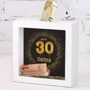 Bilderrahmen Spardose zum 30. Geburtstag