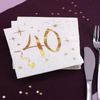 Weiße Servietten zum 40. Geburtstag in Gold-Metallic