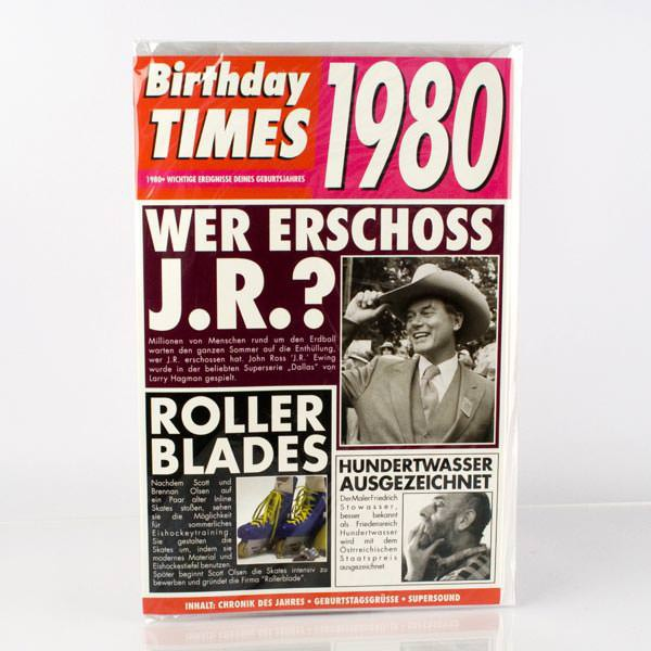Birthday Times Karte mit Sound 1980