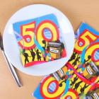 Bunte Servietten zum 50. Geburtstag